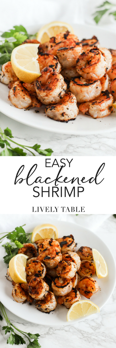 A simple recipe for delicious blackened shrimp for a quick protein-packed meal! Gluten-free, dairy-free, nut-free,  paleo and whole 30 friendly.