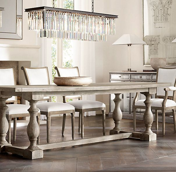 Th C Priory Rectangular Dining Table Restoration Hardware For - Dinner table ceiling light