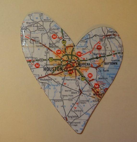 Houston Texas map heart magnet OOAK by lynellen on Etsy, $2.00