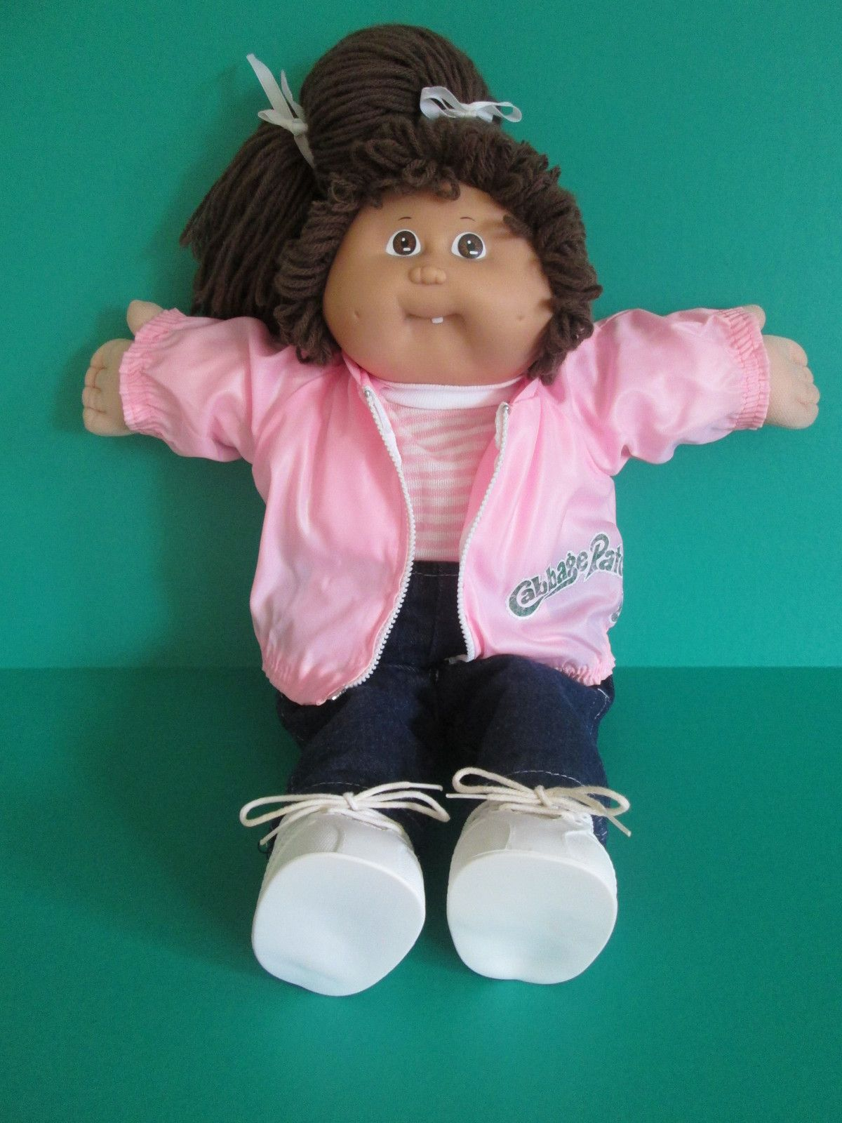 Cabbage Patch Girl Doll 1985 Coleco Brown Eyes And Side Pony Hair With Outfit Vintage Cabbage Patch Dolls Cabbage Patch Babies Black Cabbage Patch Doll