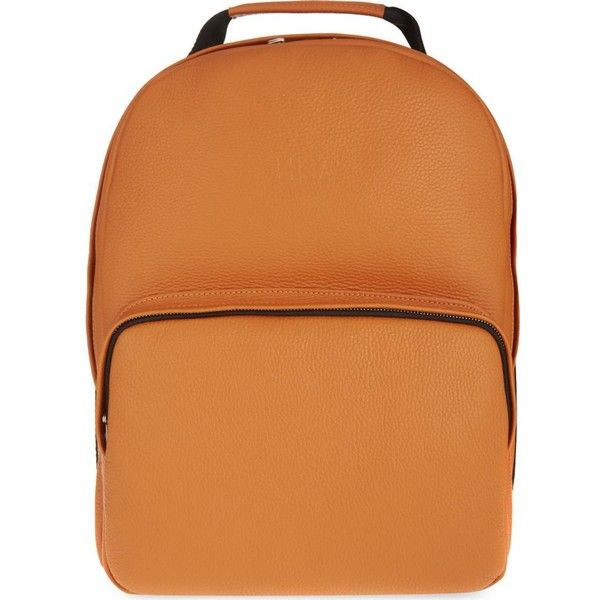 HOOD BY AIR Leather backpack ($595) ❤ liked on Polyvore featuring bags, backpacks, orange, red leather backpack, leather rucksack, red leather bag, genuine leather backpack and orange backpack