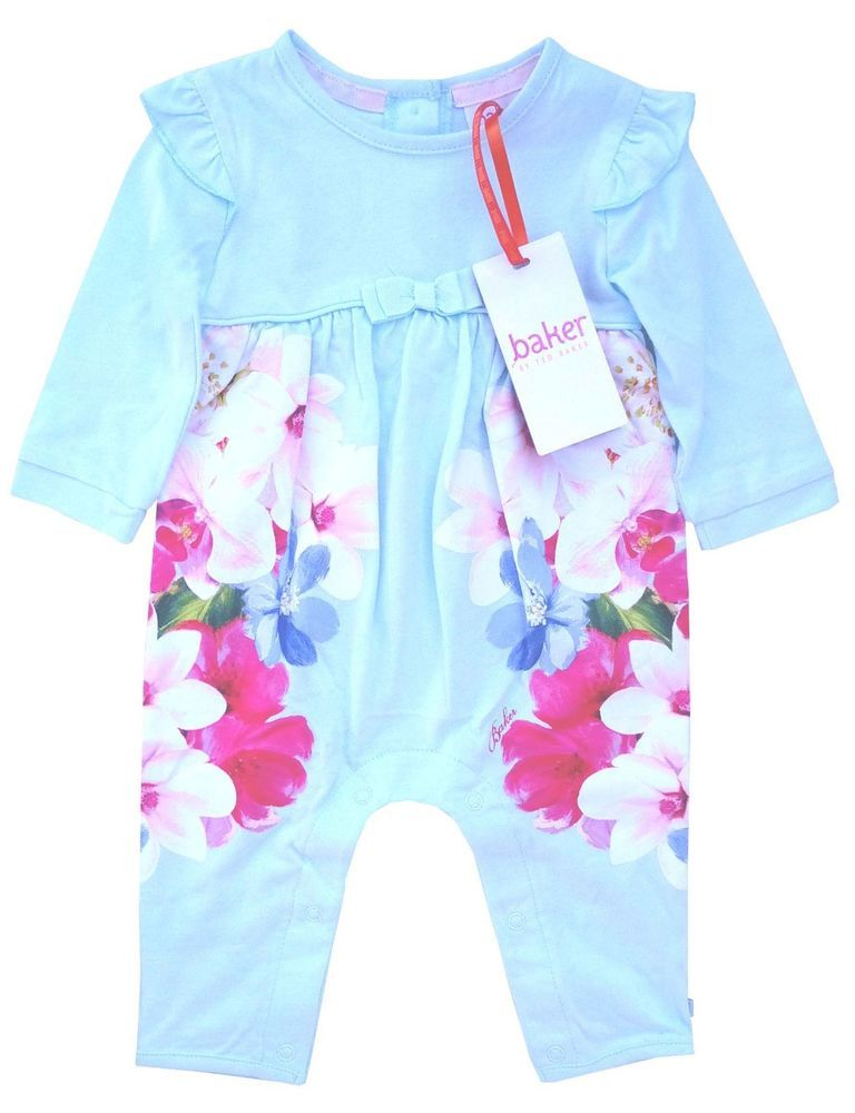 c0027ffa0d719f Ted Baker Baby Girls Romper Bodysuit Green Floral Designer Gift Newborn 0-3  M
