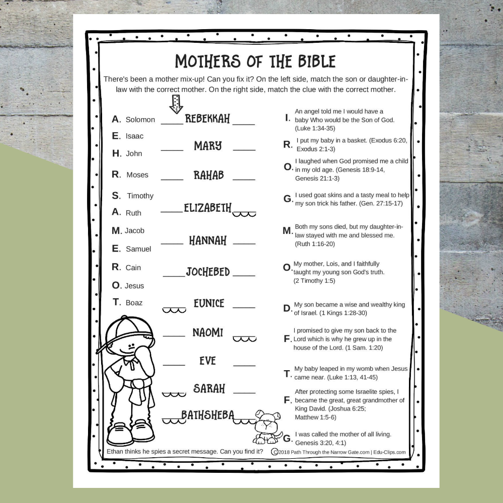 Printable Mothers of the Bible Worksheet Sunday school