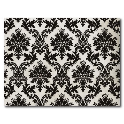 Vintage Black And White Damask Wallpaper Postcard Zazzle Com Black Floral Wallpaper Black And White Wallpaper White Flower Wallpaper