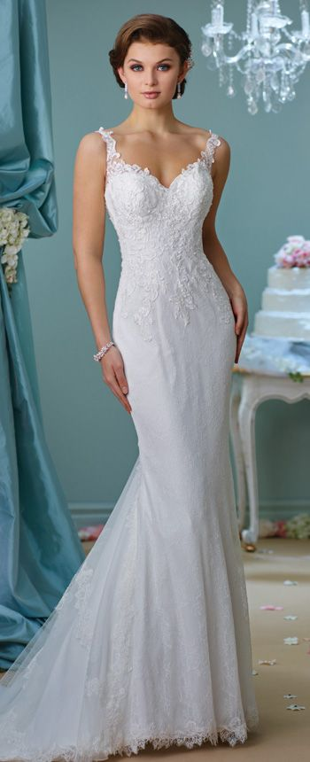 Fit and Flare Lace Wedding Dress- 216157- Enchanting by Mon Cheri ...
