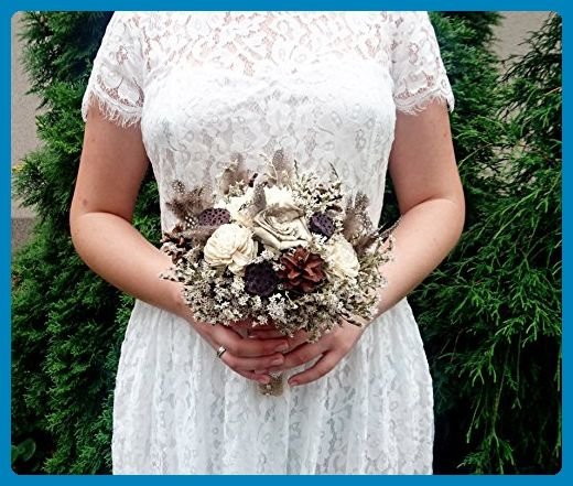 Small Rustic Wedding Bouquet with Ivory Sola Flowers Pine Cones Natural Guinea Hen Feathers - Wedding table decor (*Amazon Partner-Link)