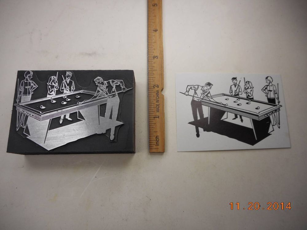 Letterpress Printing Printers Block, Billiards, Family playing Pool #LETTERPRESS