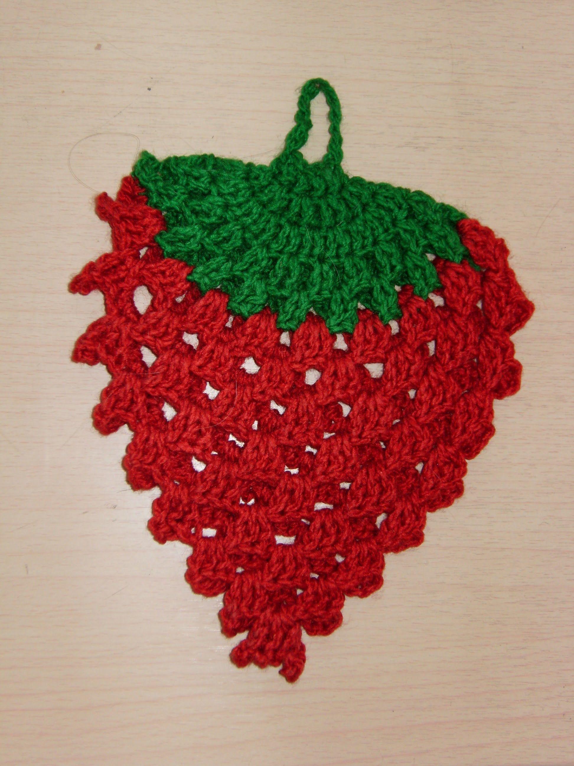 Hermosa Fresa Patrón Potholder Crochet Modelo - Manta de Tejer ...