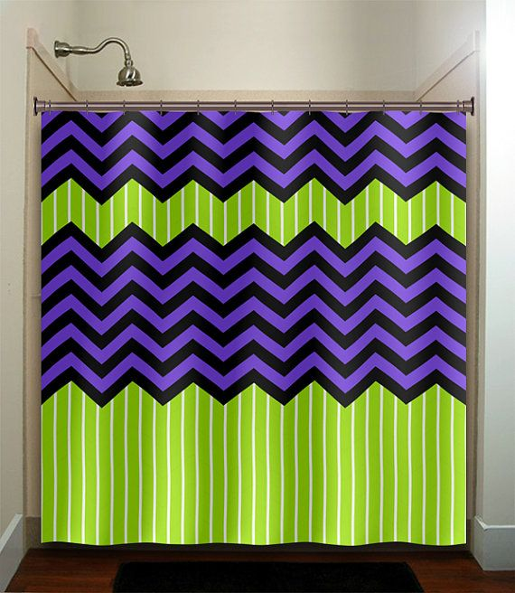 Lime Green Stripe Purple Zig Zag Chevron Shower By TablishedWorks, $67.00