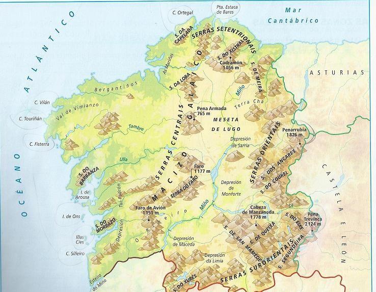 Mapa De Galicia Fisico Mudo.Mapa Fisico Galicia Busca De Google Mapa Fisico Mapa De