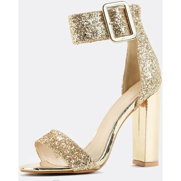 fe0a682444a SheIn(sheinside) Glitter Ankle Strap Chunky Heels GOLD ( 38) ❤ liked on  Polyvore featuring shoes