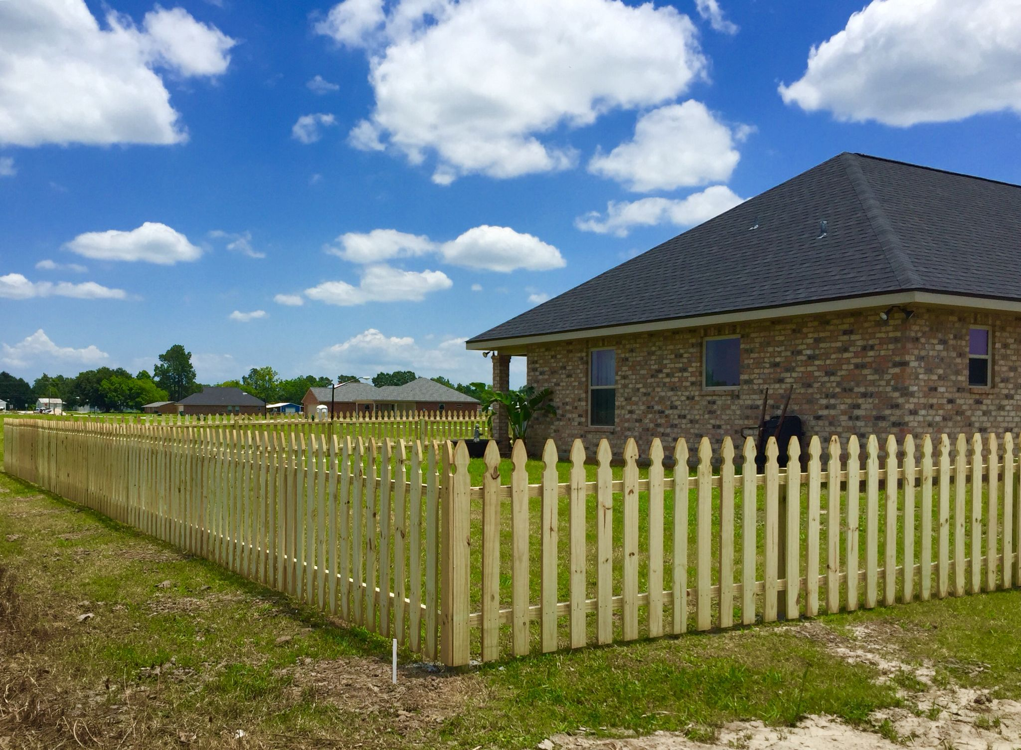 4 Ft Tall Treated Pine French Gothic Picket Benoit Fence Of Houma Inc Www Benoitfence Com Wood Fence Design Fence Design Fence