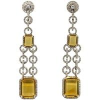 Chantecler citrine 2.69ct diamond and 18k gold earrings