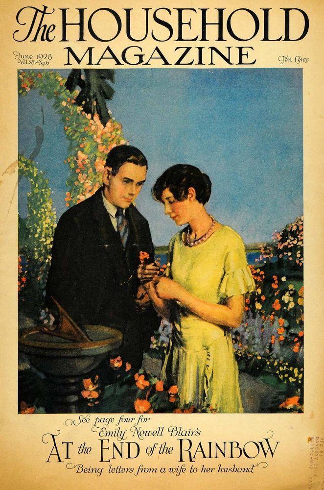 1928 Cover Household Magazine Sun Dial Lovers Romance - ORIGINAL HOH1