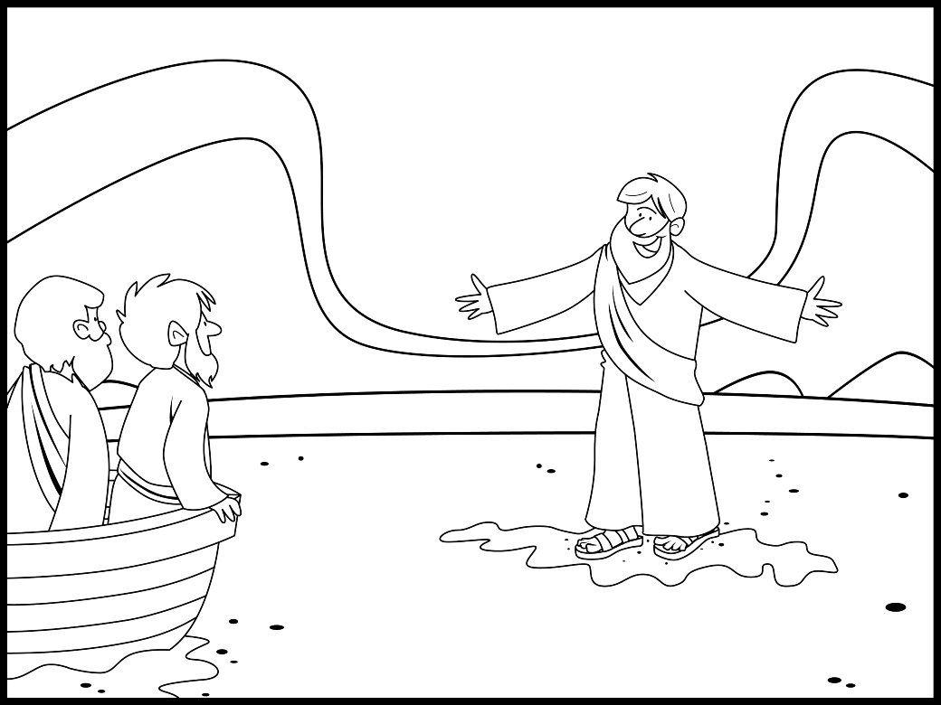 Jesus Walks On Water Coloring Page Jesus Walk On Water Bible Coloring Pages Bible Activities