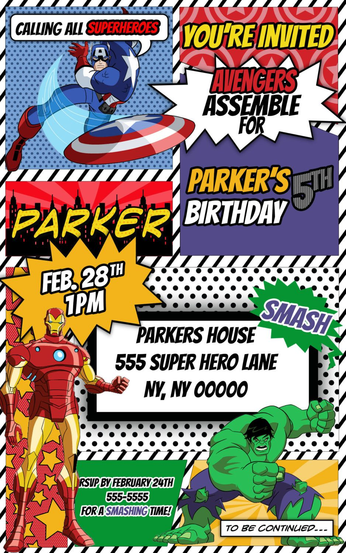 Avengers Superhero Comic Themed Birthday Invitation By - Avengers birthday invitation wording