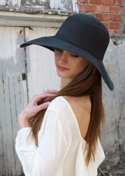 b5316a8c Pretty Brunette Wearing Floppy Hat With Black Band | Fashion ...