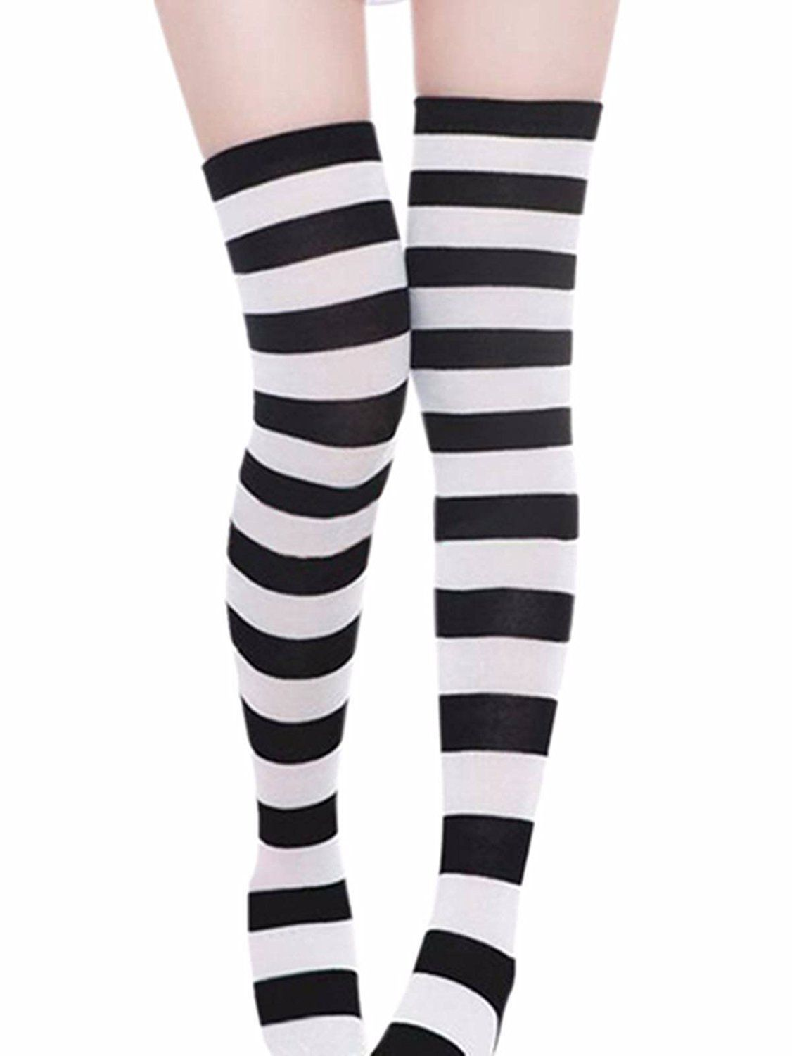 3da8a387b ZANZEA Sexy Lady Over The Knee Thigh High Long Striped Stocking In three  Colours Pink thick at Amazon Women s Clothing store