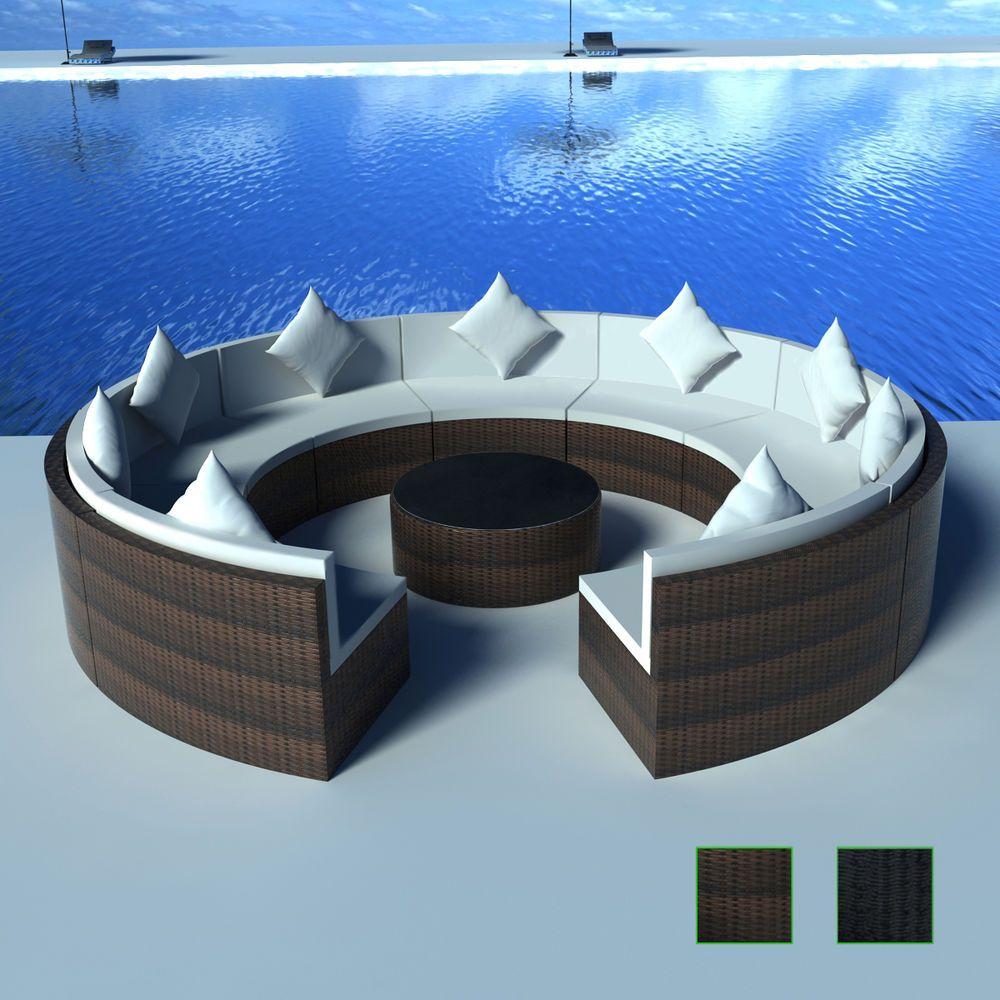Details zu Poly Rattan Lounge Gartenmöbel Sofa Set Tisch ...