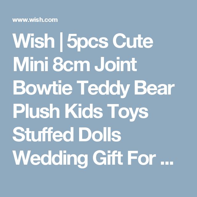 Wish | 5pcs Cute Mini 8cm Joint Bowtie Teddy Bear Plush Kids Toys Stuffed Dolls Wedding Gift For Children