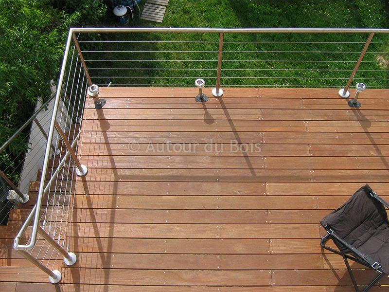 garde corps bois et inox pour terrasse bois suspendue main courante angers maine et