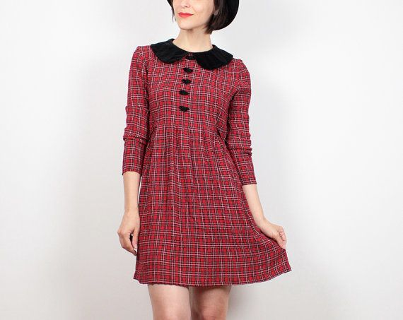 Vintage Red Tartan Plaid Dress 1990s Dress by ShopTwitchVintage