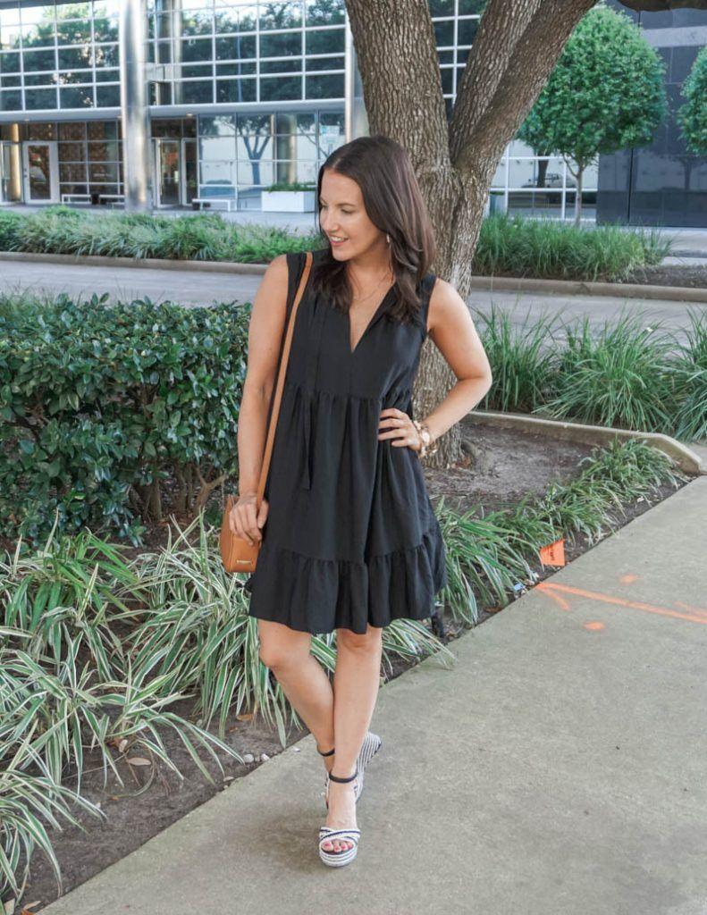 Black Swing Dress Lady In Violet Petite Fashion Black Swing Dress Swing Dress Black Tiered Dress [ 1024 x 791 Pixel ]