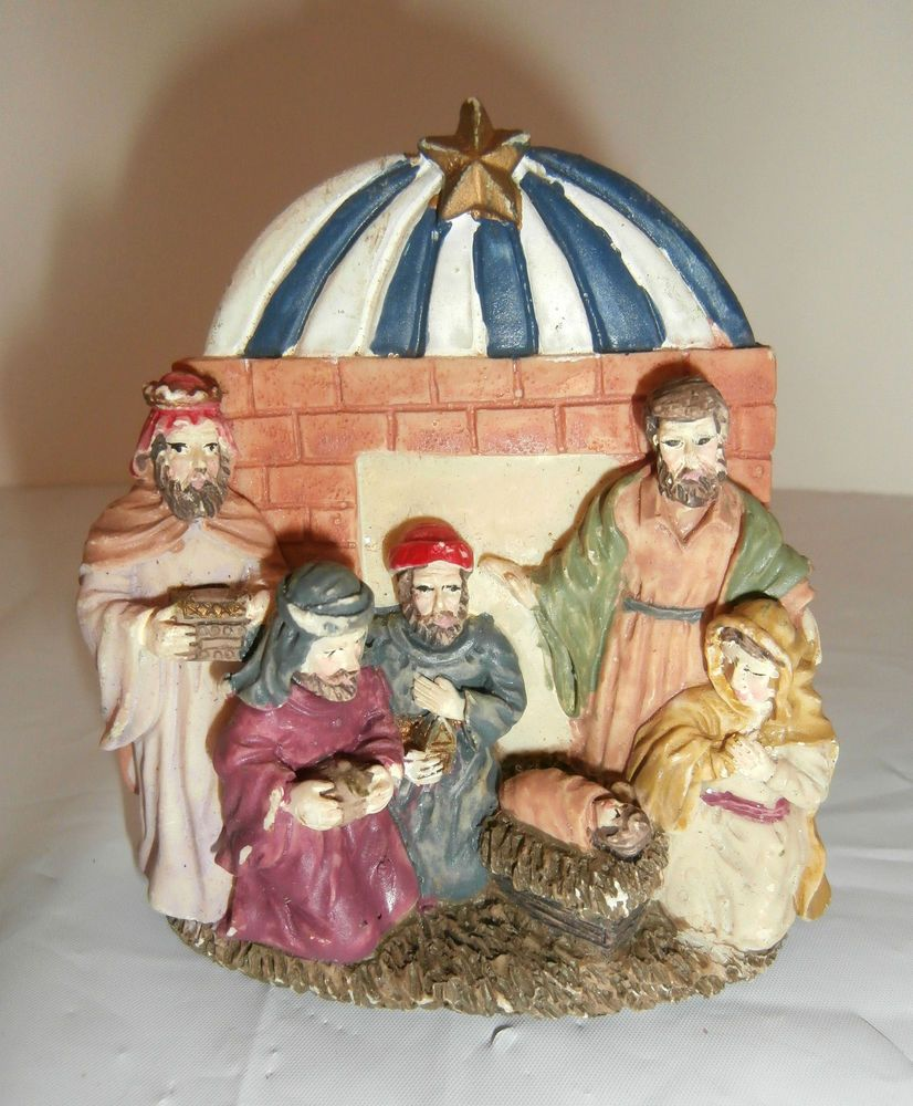 Vintage Ceramic Nativity/Manger Scene Christmas Tree Ornament
