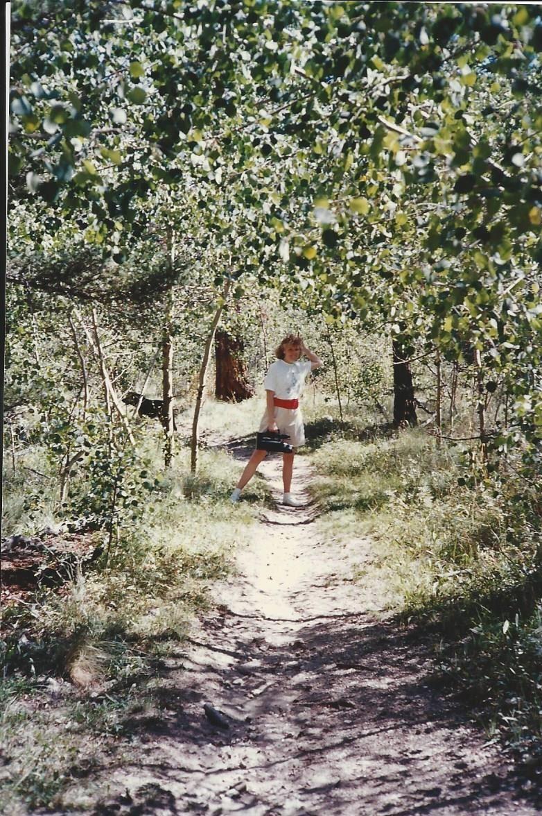 Deercreek Christian camp, Carol was taking me on a hike up in the woods.  (yr?).  beautiful path.  short hike to Pancake Ridge (i remember that).