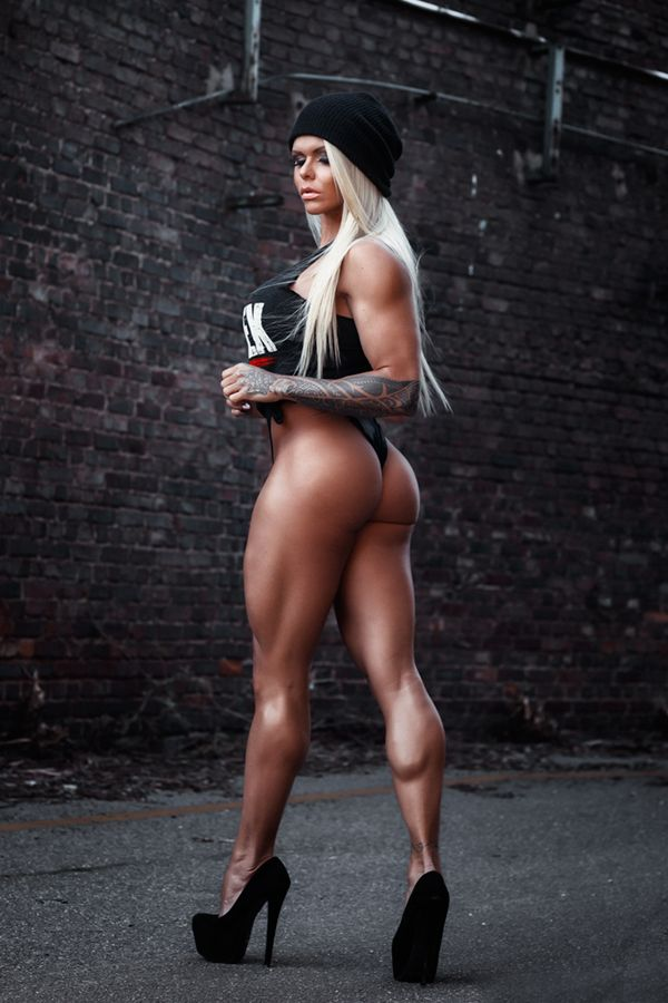 Sensual fitness blonde with strong muscles and perfect body