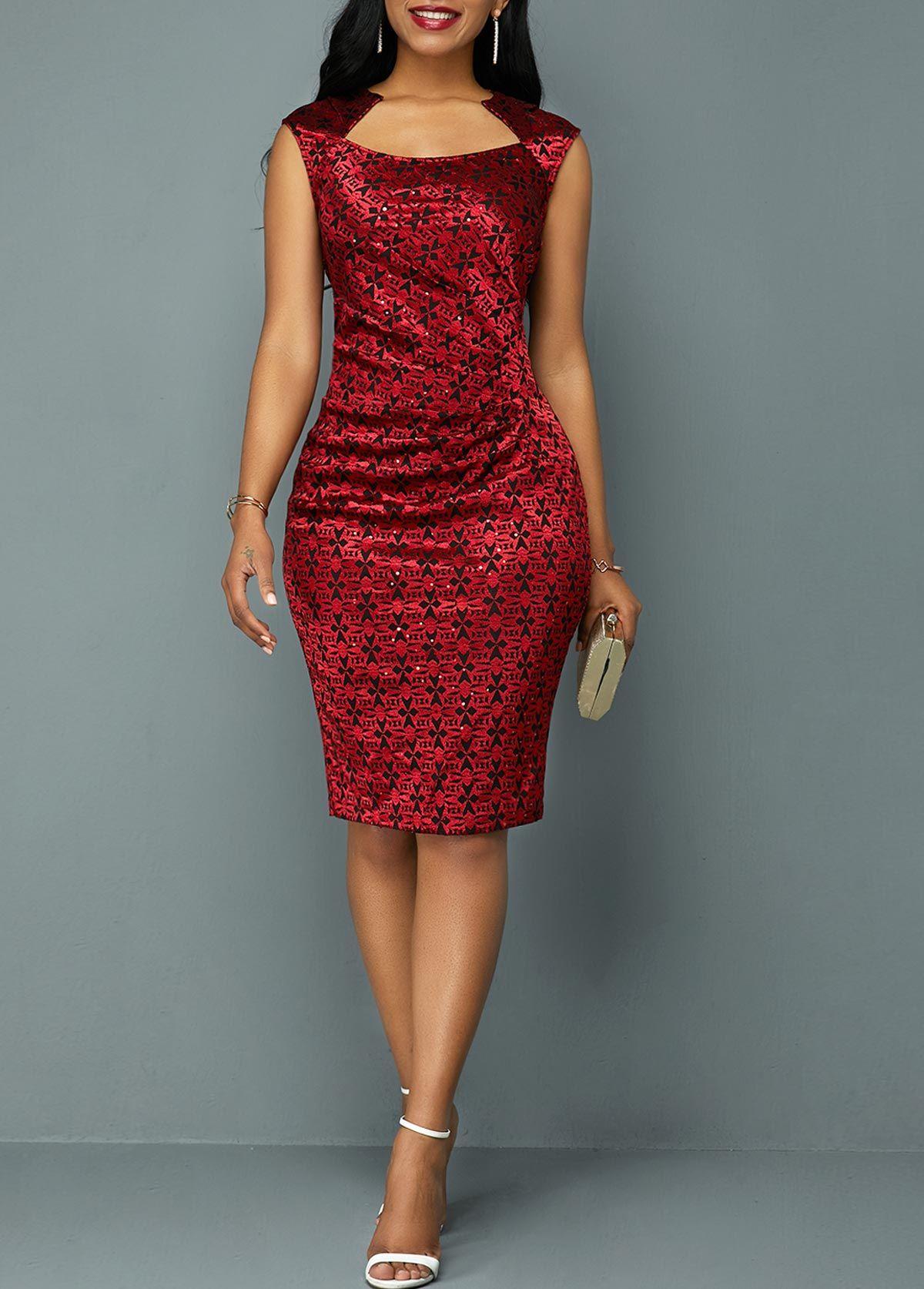 Wine Red Sleeveless Ruched Sheath Dress Rotita Com Usd 30 32 Red Sheath Dress Lace Blue Dress Fashion Dresses Online [ 1674 x 1200 Pixel ]