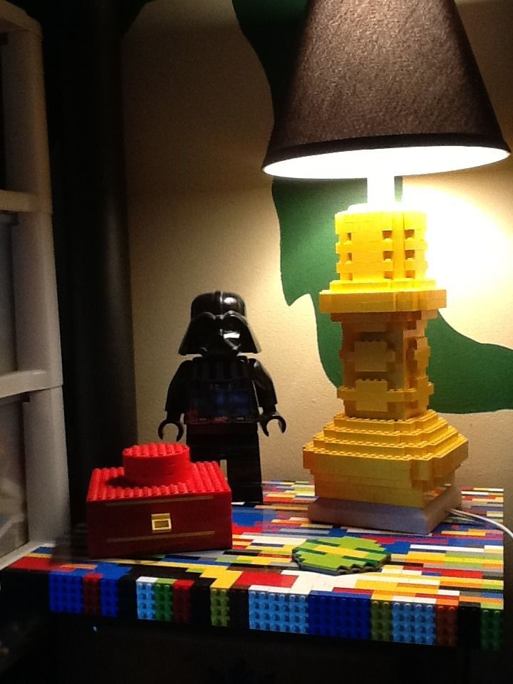 Room 2 Build Bedroom Kids Lego: Lego Working Lamp, Drawer, Coaster, And Table Top.
