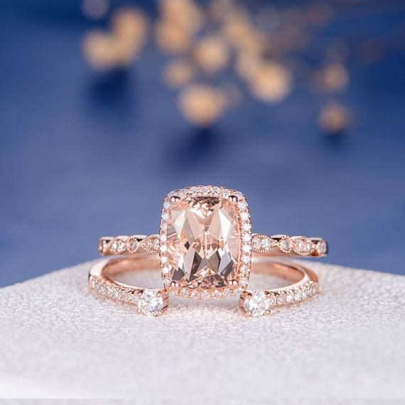 Morganite Wedding Ring Set Cushion Cut Engagement Ring Rose Gold Diamond  Open Wedding Eternity Band Halo Antique 2pcs Anniversary Promise | Cushion  Cut ...