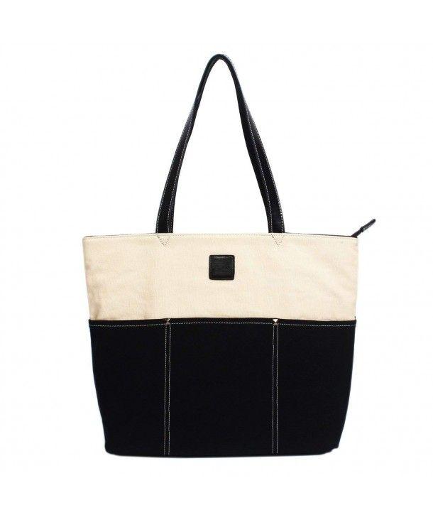 43a2a2a736 Women s Casual Canvas Tote Bag Shoulder Bag Handbag Purse Weekend ...