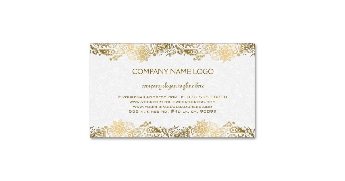 Elegant Gold And White Paisley 2 Wedding Planner Business Card ...