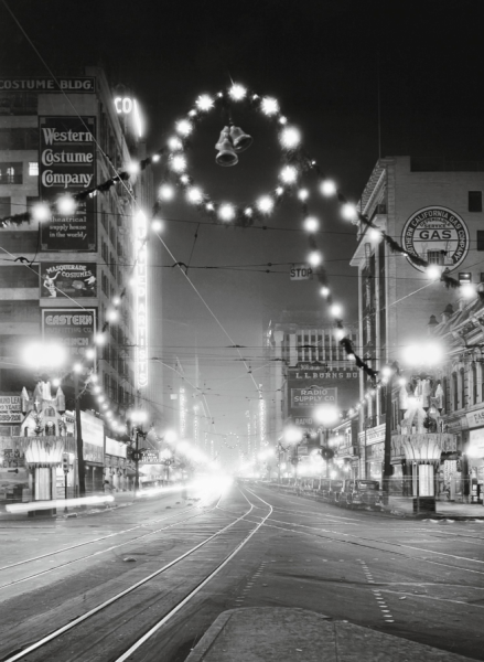 christmas decorations on broadway in downtown los angeles ca 1928