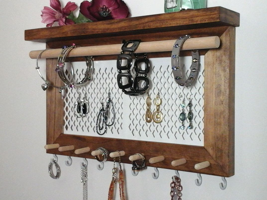 Jewelry Organizer Wall Hanging Necklace Bracelet Ring Earring Holder All In One Wall Mount Jewelry Organizer Display Stained P Jewelry Organizer Wall