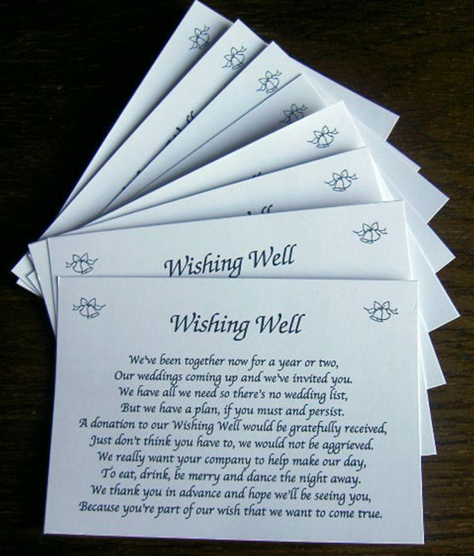 Beach Weddings 25 Wishing Well Wedding Poem Cards For Your Invitations