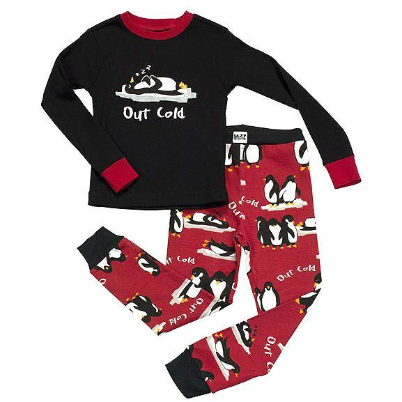 a6be529a46 Penguins Out Cold Kids P.J. s (Black Top   Red Pants)