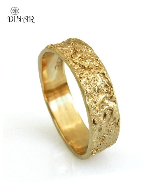 14k Solid Gold Wedding Band Rustic 18k Yellow Ring 6mm Wide Men