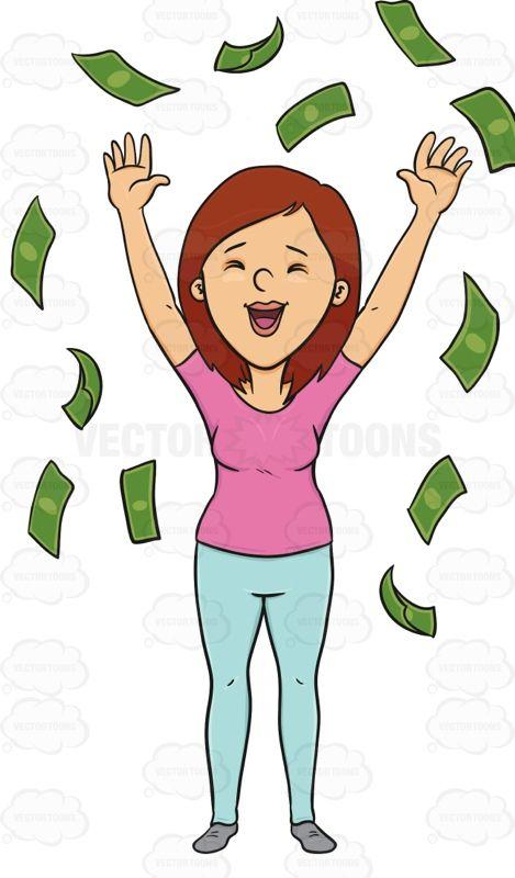 Ecstatic Female Enjoying The Rain Of Money Money Collection Red Heads Women Raining Money