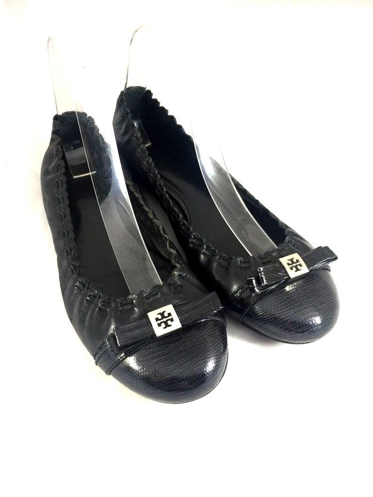 4ab46e39dfc7 Tory Burch Romy Mestico Ballet Flat Black Lizard Cap Toe Bow 8.5 Slip On  Leather  ToryBurch  BalletFlats  Any
