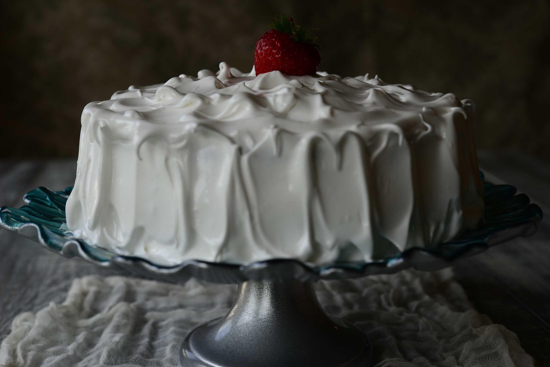 Moody food photography..Seasonal strawberry cake