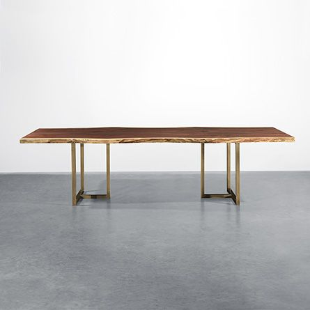 108 One Of A Kind Walnut Live Edge Dining Table With Brass Base 1