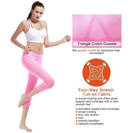 9a3775abb2 Camellias Womens Yoga Capri Leggings Stretchy Workout Pants Running Tights  With Hidden Pocket Pink