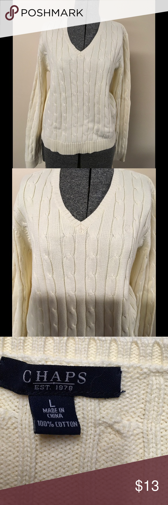 Chaps Cable Knit V-Neck Sweater Size Large | Cable knitting, Cable ...