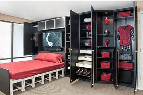 Wall Cupboard Inside Designs Hidden Wall Bed With Television Inside And Black Cupboard  Http