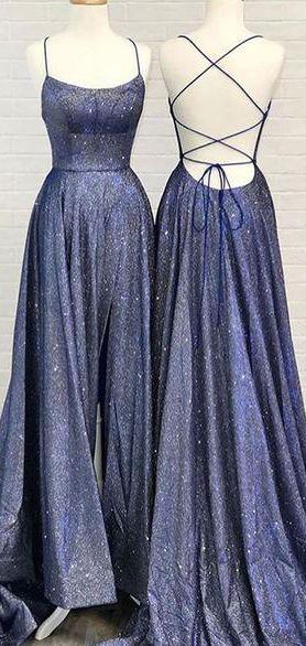 A-line Unique Backless Long Prom Dress Davy Blue Evening Dress WHK035