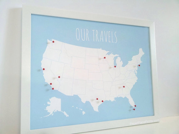 Us Map With Pins Mothers Day Gift United States Push Pin Map - Us-pin-map