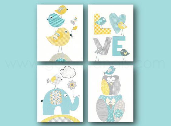 Lot De 4 Illustrations 18x24 Cm Pour Chambre D Enfant Et Bebe
